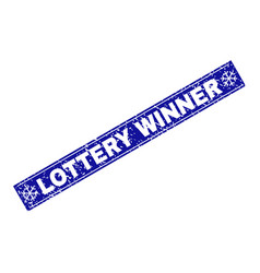 lottery winner grunge rectangle stamp seal with vector image