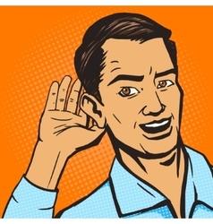 Man listens pop art style vector image