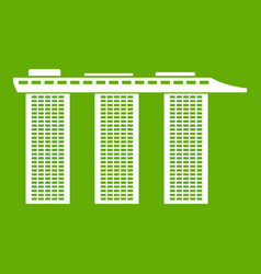 Marina bay sands hotel singapore icon green vector
