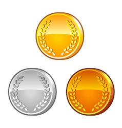 Medals with laurel wreath vector image