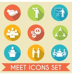 Meet business partners icons set vector image