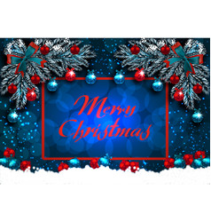 merry christmas greeting card with decorations on vector image