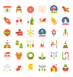 merry christmas icon set flat design vector image