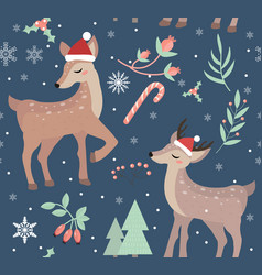 merry christmas seamless pattern cute fawn vector image