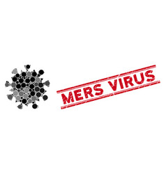 Mosaic mers virus icon with textured mers virus vector
