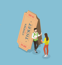 Movie tickets flat isometric concept vector
