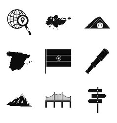 navigation on the map icons set simple style vector image
