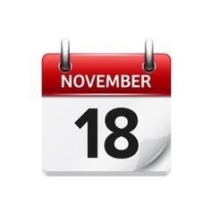 November 18 flat daily calendar icon vector