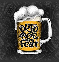 oktoberfest lettering inscription and beer mug vector image