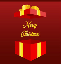 open gift box with text merry christmas and happy vector image