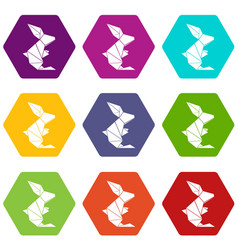 origami rabbit icons set 9 vector image