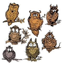 owl set 380 vector image