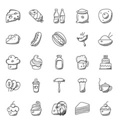 pack of food and beverages doodle icon vector image