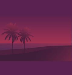 palms at sunset scene vector image