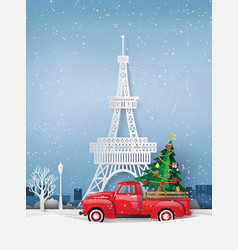 Paper art of winter season and merry christmas vector