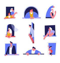 people in window men and women curtain vector image