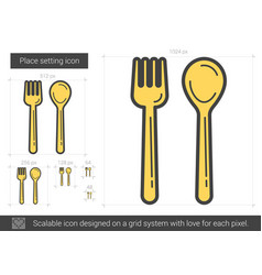 Place setting line icon vector