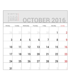Planners for 2016 october vector