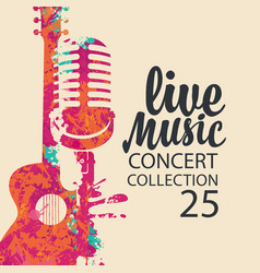 Poster for live music concert with guitar and mic vector