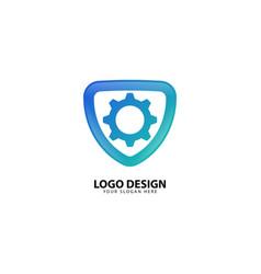 Protection gear security design logo vector