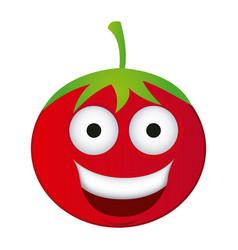 red kawaii happy tomato icon vector image