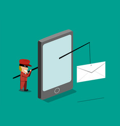 scammer send phishing mail by mobile phone vector image