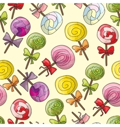 Seamless pattern with color lollipops vector image