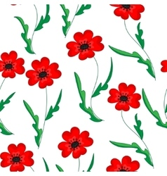Seamless pattern with poppies Hand-drawn floral vector