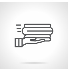 Service linens black line icon vector