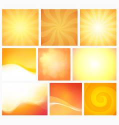 set abstract yellow orange backgrounds warm vector image