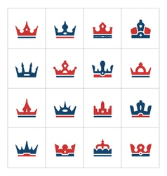 set color icons crown vector image