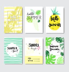 set enjoy summer palm pineapple badge isolated vector image