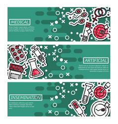 set of horizontal banners artificial insemination vector image