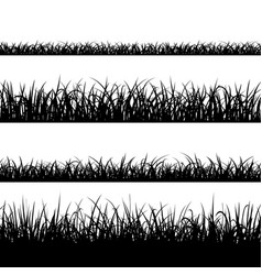 set of silhouette of grass isolated on white vector image