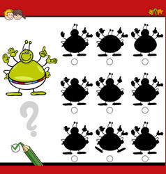 shadow differences game with alien vector image