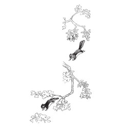 Squirrel jumping in tree in this frame vintage vector