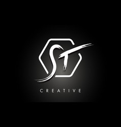 st s t brushed letter logo design with creative vector image