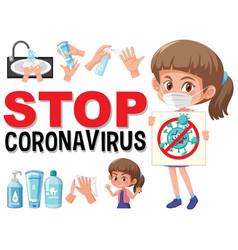 stop coronavirus with girl holding vector image