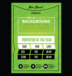 Strong green pricing table banner or poster vector