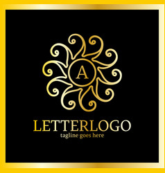 sun heart abstract logo letter a in middle luxury vector image