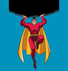 Superhero holding boulder vector