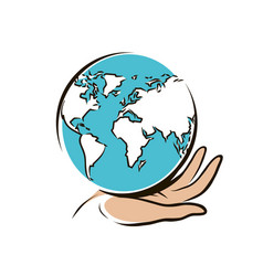 Travel world logo or label hand carefully keeps vector