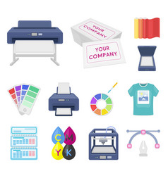 typographical products cartoon icons in set vector image