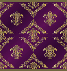vintage background with damask pattern in retro vector image