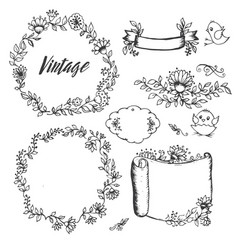 Vintage drawings of flowers labels by hand vector