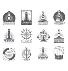vintage nautical labels with light house sea boat vector image