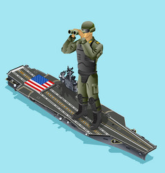 Watching soldier over aircraft carrier vector