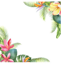 Watercolor card with tropical leaves and vector