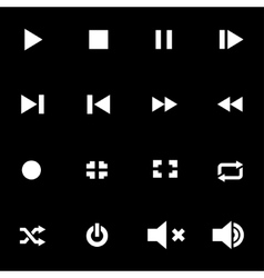 white media player icon set vector image