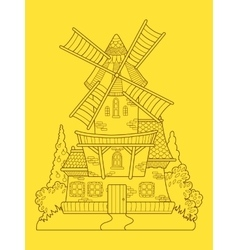 Windmill color drawing vector
